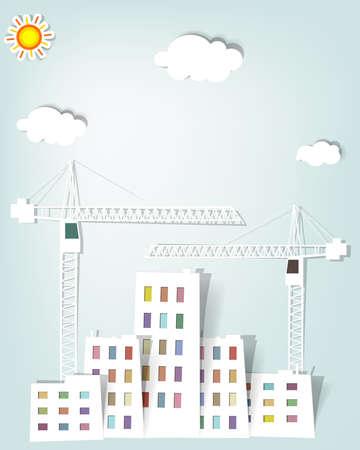 the job site: vettoriale paesaggio urbano con gru a torre