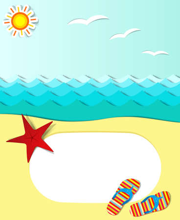 marine scene: vector summer poster with text area Illustration