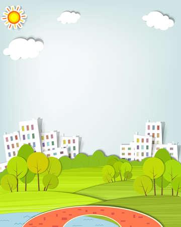 urban landscape with trees, lake and bridge