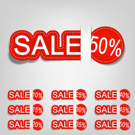 vector red tag for sales