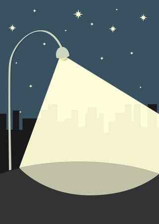 street lamp illuminates the sidewalk Illustration