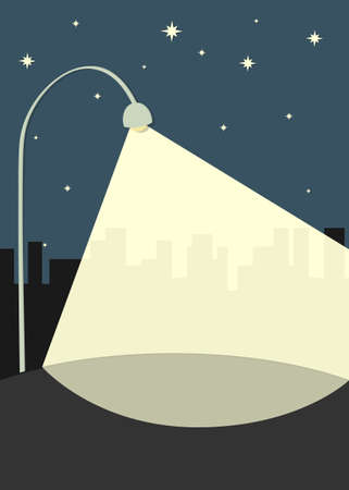 light and dark: street lamp illuminates the sidewalk Illustration