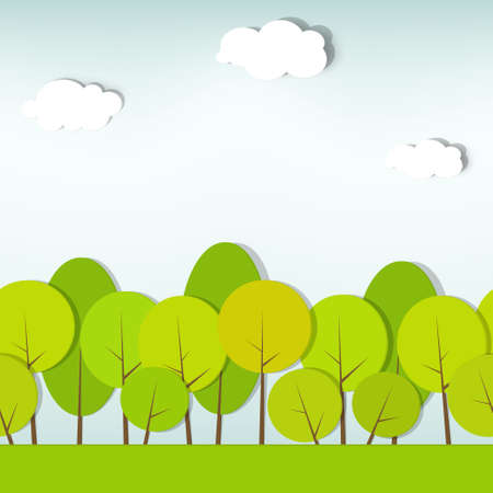 green trees and shrubs  seamless  Ilustracja