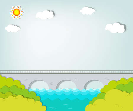 applique  Summer landscape with bridge Vector