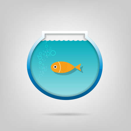 gold fish bowl: poster  Creative aquarium with a small goldfis