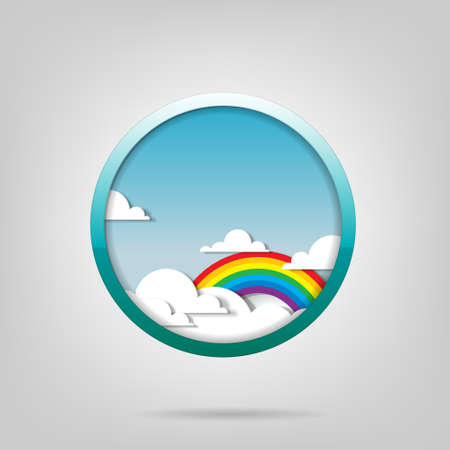 poster  Rainbow and clouds Stock Vector - 14526239