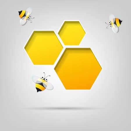 bee: творческие сотовой сайт и пчелы Иллюстрация