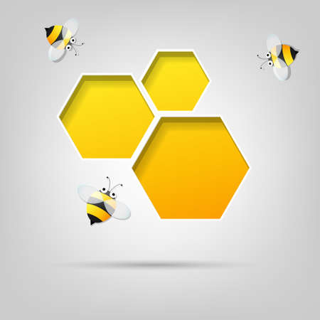 bees: creative poster  honeycomb and the bees Illustration