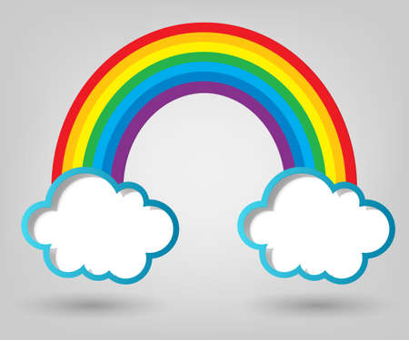 creative poster template  clouds and rainbow