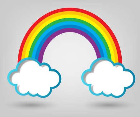 rainbow: criativas nuvens modelo de cartaz e arco-�ris
