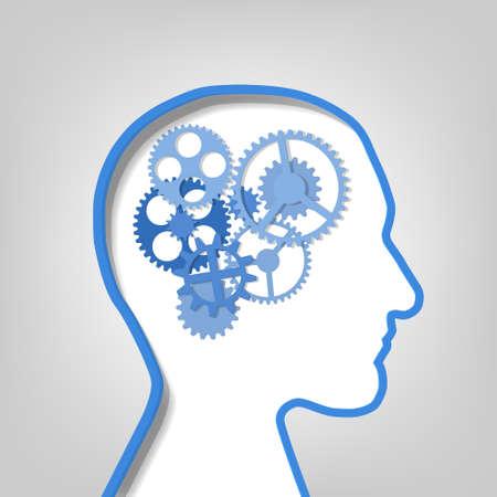 papier versnellingen in de contour van het menselijk hoofd