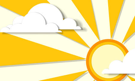 creative poster with sun and clouds Vector