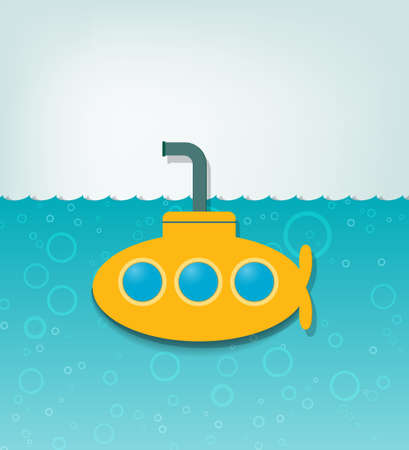 cartoon submarine: creative  illustration with a yellow submarine