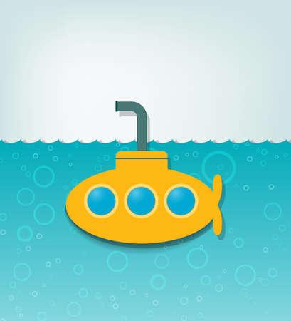 submarino: ilustración creativa con un submarino amarillo