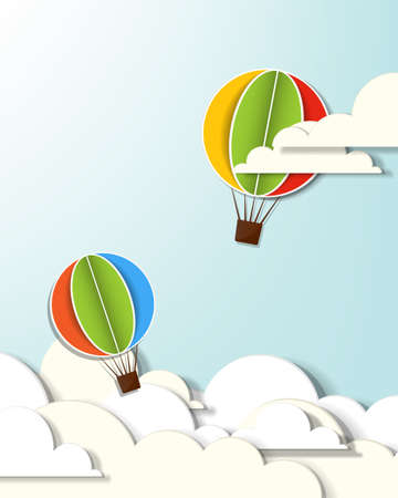 applique with two hot air balloons in the clouds  イラスト・ベクター素材