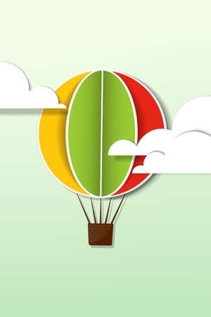 applique with hot air balloon in the sky Vector