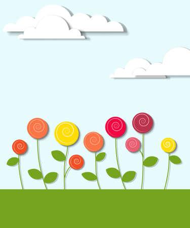 prato e cielo: fiori e nuvole applique creativa