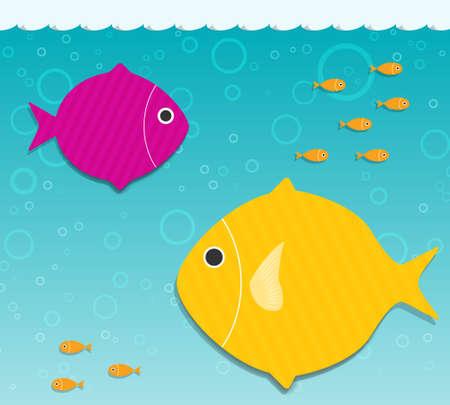 twee grote vissen in het water applique
