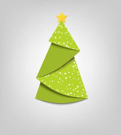 christmas template: Albero di Natale creativo carta origami Vettoriali