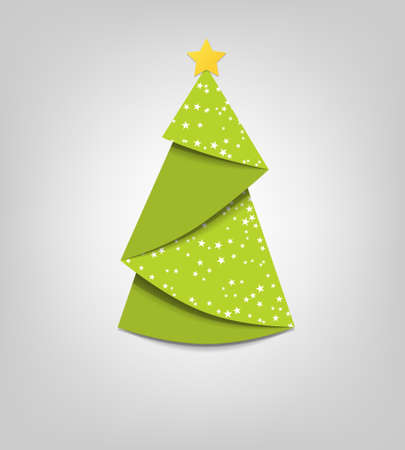Creative Christmas tree card  origami Vector