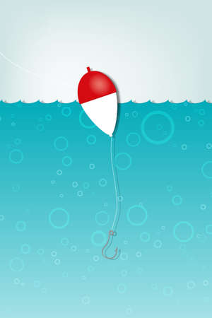Float fishing with a hook underwater  applique  Vector