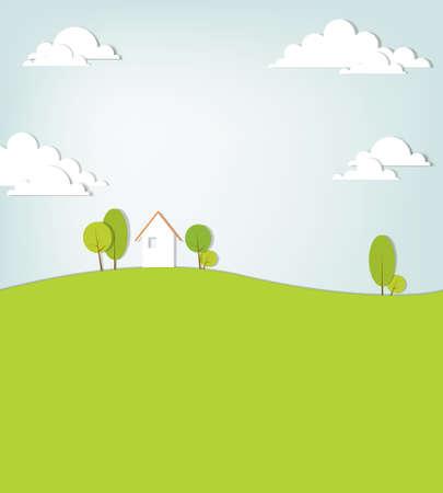 gestileerde landschap met een huis op de heuvel