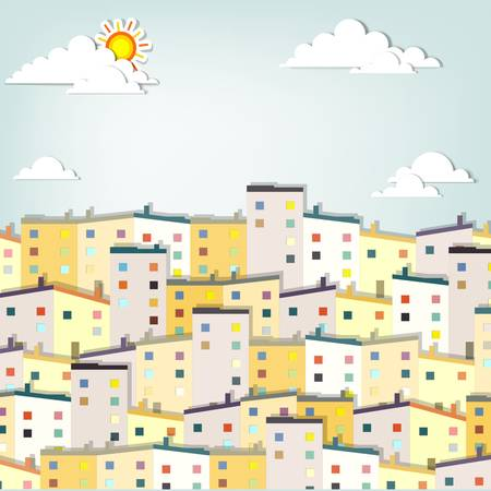 storey: panorama town  creative vector applique Illustration