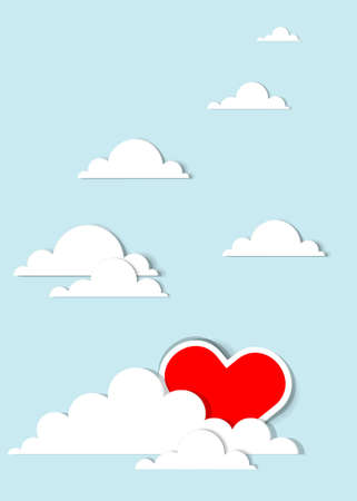 red heart in the clouds Vector