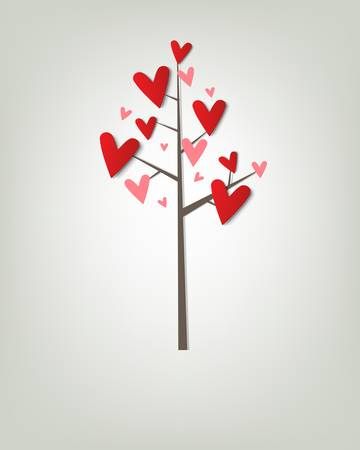 tree with hearts   creative vector poster Stock Vector - 15402362