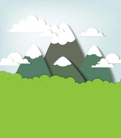 mountain meadow: Monta�a applique paisaje vector creativo