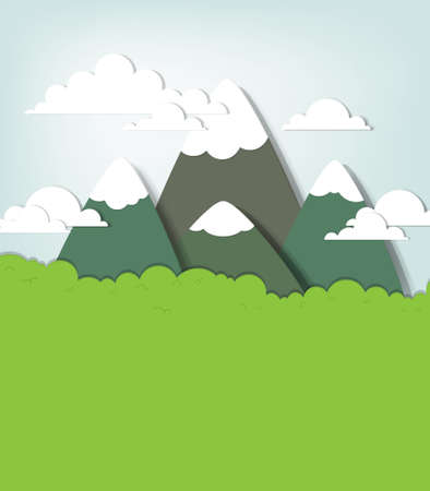 panoramic view: Mountain landscape  creative vector applique