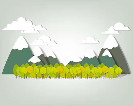 prato montagna: Paesaggio di montagna creativo vettore applique Vettoriali
