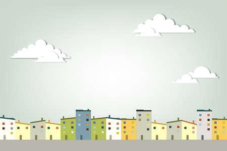 viviendas: panorama pueblo creativo vector applique