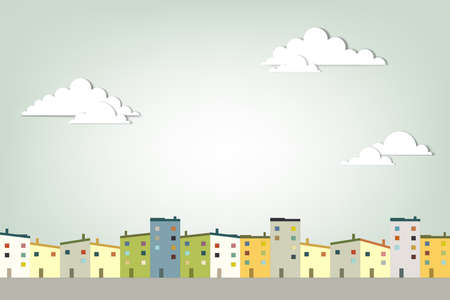 woningmarkt: panorama stad creatieve vector applique Stock Illustratie