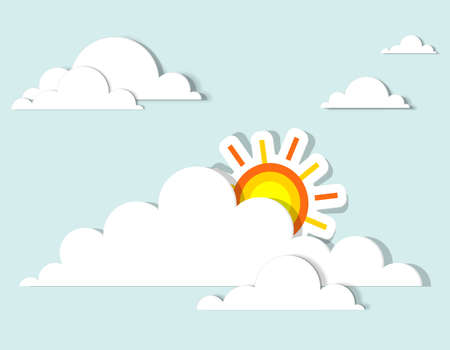 sun in the clouds  vector applique  イラスト・ベクター素材