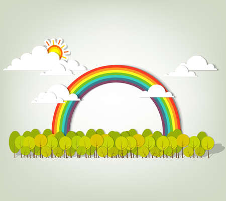 Rainbow over green forest  vector illustration