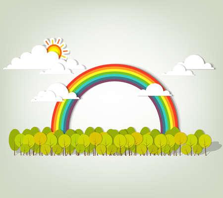 Rainbow over green forest  vector illustration