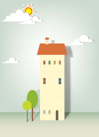 illustration of buildings, green trees, clouds and sun Vector