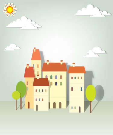 townhouses: casas de papel creativo del grupo apliques vector