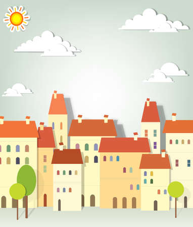 panorama town  creative vector applique Vector