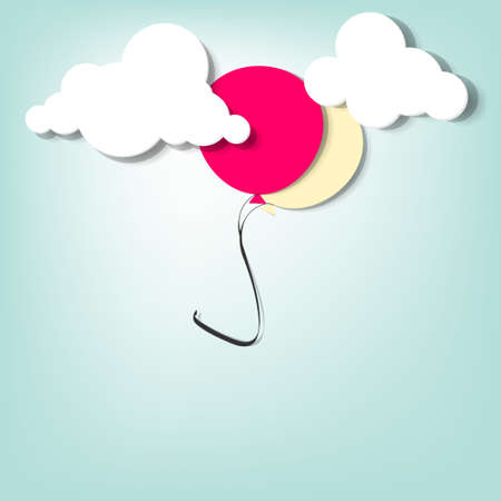 balloon in the clouds  creative vector applique Stock Vector - 15402372