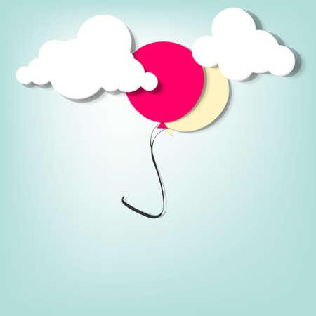 balloon in the clouds  creative vector applique Stock Vector - 15402372