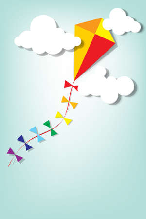 colorful kite up in the clouds