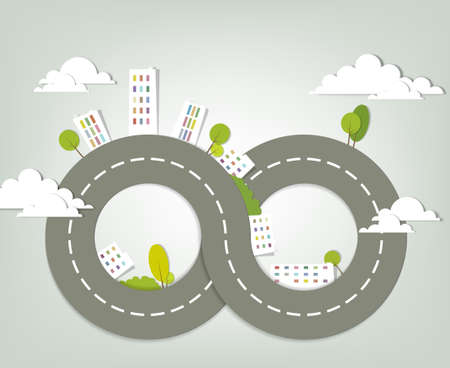 infinity road: creative urban landscape  vector illustration
