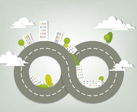 carretera: creativo paisaje urbano ilustraci�n vectorial