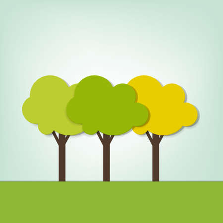 green three trees on the field Stock Vector - 16057339