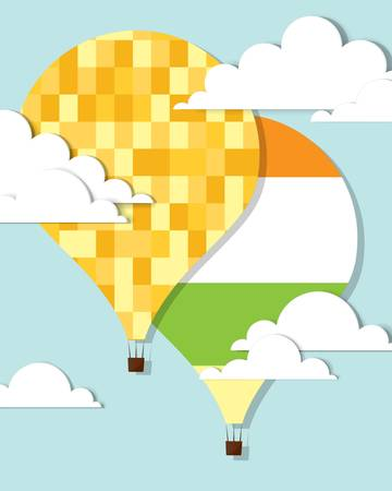 colorful hot air balloons in the sky Illustration