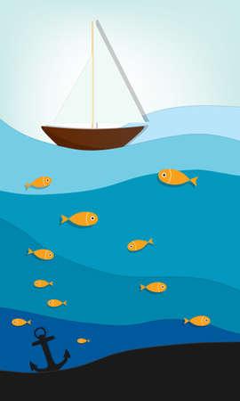 nubes caricatura: barco en el mar creativo vector applique Vectores
