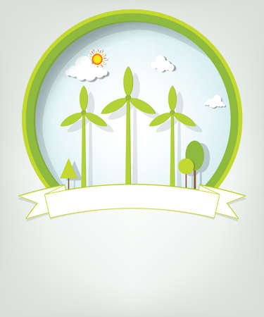emblem with green windmills Stock Vector - 17843285