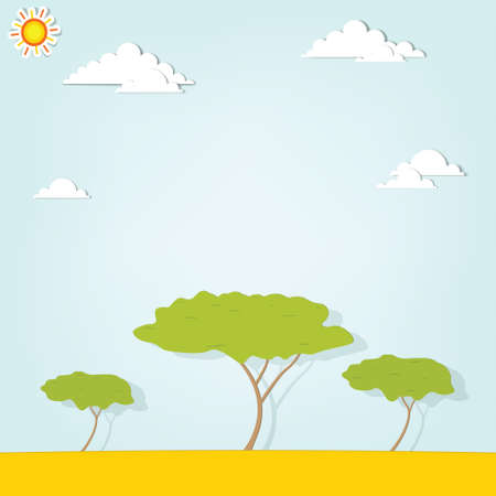 African landscape with trees Stock Vector - 17843270